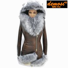 manufacturer direct supplier 7XL new women's winter fashion Jacket sheep fur Fur Collar sheepskin fur coat Free Shipping(China (Mainland))
