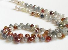25 Pcs Multi Color Diamond Faceted Briolette by gemsforjewels