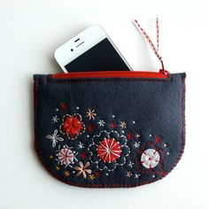Wool Felt Coin Purse or iPhone Cozy // Hand Embroidered //