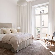 Contemporary and Elegant Swedish Apartment Design Interior Living Room Apartment Design, Bedroom Apartment, Home Bedroom, Bedroom Decor, Bedroom Curtains, Master Bedroom, Ceiling Curtains, Bedroom Inspo, Bedroom Ideas