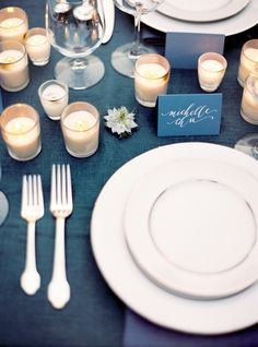 Silver and Blue Place Setting with Glowing Candles | Jose Villa Photography | Indigo and Pewter Wedding Palette