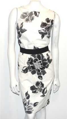 ANN TAYLOR~BLK/GRAY/IVORY CREAM~ROUND-NECK~FLORAL PRINT~BELTED STRETCH DRESS~8~M #AnnTaylor #FLORALPencilSTRETCHDressBelted #Cocktail