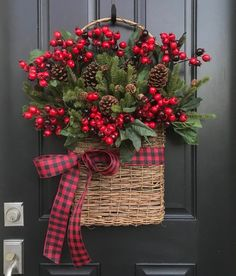 Christmas Wreaths NEW Holiday Wreaths and Baskets, Holiday Decor with Buffalo Pattern Ribbon NEW 2018 Christmas Wreaths Holiday Decor Christmas Berry Christmas Arrangements, Christmas Centerpieces, Xmas Decorations, Rustic Christmas, Christmas Holidays, Christmas Crafts, Christmas Ornaments, Christmas Tree, Christmas Movies