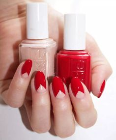 INVERTED FRENCH MANICURE ALMOND NAILS WITH RED