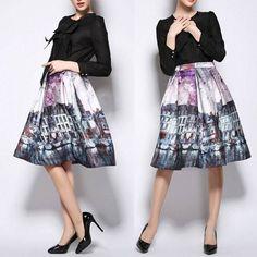 Vintage CityScape Painting High Waist Knee-Length Skirt