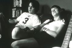 This 2001 photograph was taken in Jack and Meg's attic studio, where Jack self-produced and recorded all of their early albums and taught Meg to play the drums. Description from nme.com. I searched for this on bing.com/images