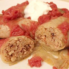 Cabbage rolls are a classic dish for many Eastern European countries. Made with ground beef and ground pork in the rice stuffing.
