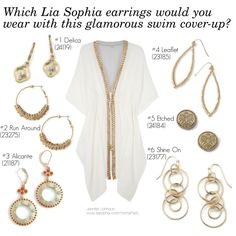 """""""Glam Gold and White Cover-up - Which Lia Sophia Earrings?"""" by stylelover-611 on Polyvore See the whole Lia Sophia Fall/Winter 2013 Style Guide at www.liasophia.com/HomeParty"""