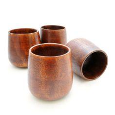 4er SET Holzbecher / Deko-Becher (Dekorationsbecher), Trinkbecher aus umweltfreundlichem Holz mit 150ml Fassungsvermögen, Holztassen in schlichtem Design, Farbe: dunkelbraun - Marke Ganzoo von Ganzoo, http://www.amazon.de/dp/B00D1W5P36/ref=cm_sw_r_pi_dp_mwAltb0ZWPC5X