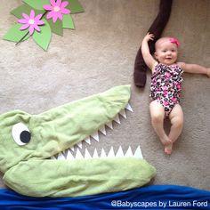 Jane of the Jungle! Unique baby photo, weekly baby photo, crocodile