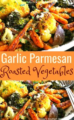 Garlic Parmesan Roasted Vegetables - What's For Dinner? Mix Vegetable Recipe, Grilled Vegetable Recipes, Grilling Recipes, Cooking Recipes, Grilled Veggies, Frozen Vegetable Recipes, Cooking Tips, Vegetable Bake, Vegetable Seasoning