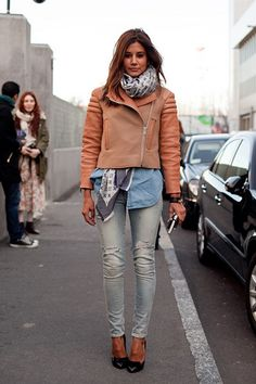 denim on denim jean, outfits, fashion, autumn outfit, denim shirts, street styles, motorcycle jackets, scarves, leather jackets