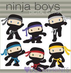 Boy Ninjas with No Weapons Hero Clip Art