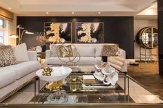 Get inspired by Glam Living Room Design photo by DecoRight Interiors. Wayfair lets you find the designer products in the photo and get ideas from thousands of other Glam Living Room Design photos. Condo Living Room, Glam Living Room, Cozy Living Rooms, Apartment Living, Living Room Furniture, Living Room Decor, Cream And Gold Living Room, Cozy Family Rooms, Sala Grande