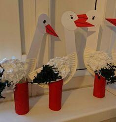 Čápi Animal Crafts For Kids, Spring Crafts For Kids, Spring Projects, Art For Kids, Bird Crafts, Diy And Crafts, Arts And Crafts, Paper Crafts, Spring Activities