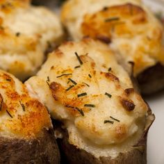 An easy and very yummy recipe for double stuffed baked potatoes. These are great enjoyed with steak and a salad.. Double Stuffed Baked Potatoes Recipe from Grandmothers Kitchen.