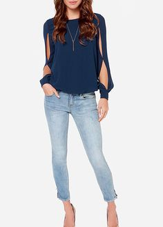 Wear the Lucky Ch-Arms Navy Blue Long Sleeve Top for extra good luck! This top has a keyhole on back, slit sleeves and an elastic waistline. Plus Size Women's Tops, Plus Size Shirts, Formal Tops, Blue Long Sleeve Tops, Love Fashion, Fashion Ideas, Chiffon Tops, Blouses For Women, Sexy