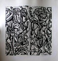 """Saatchi Online Artist: JOSE HUGO SANCHEZ; Woodcut, Printmaking """"The Dancers"""""""