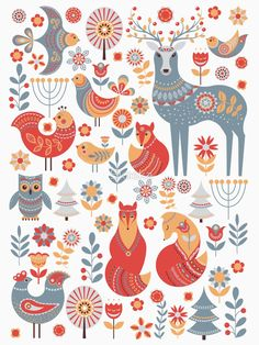 Seamless pattern with winter forest, deer, owl and Fox. The Scandinavian style. by Skaska
