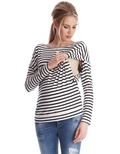 Poppers at the sides for nursing   Soft stretch jersey  Long line cut    A Breton striped maternity and nursing top is a must-have item in every mom's style arsenal. Made in soft stretch jersey, with flattering horizontal stripes, this top offers comfort & style in equal measure. Edgy metal snaps to the sides add an urban twist to the style, and open up to provide easy nursing access after baby is born. Style this essential nursing top with skinny jeans and ankle boots to work an…