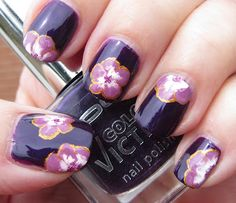 Gold & purple one-stroke flowers for Lydia
