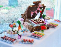 Watercolor inspired dessert table