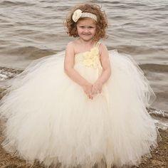 Flower Girl Tutu Dress Ivory Flower Girl by EllieNSophiaBoutique