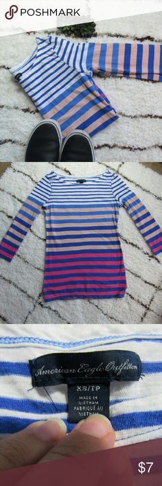 American Eagle Striped Tee Blue and pink ombre stripes make this tee cute for spring or fall. It has 3/4 length sleeves and is 100% cotton. Great condition! No stains or pilling. American Eagle Outfitters Tops Tees - Long Sleeve
