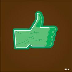 Hulk Super Like /// by Jaime Calderón, via Behance Superhero Fashion, Superhero Design, Stand Up Comics, Like Symbol, Superman, Batman, Geek Room, Fb Like, Tech Humor