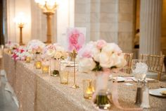 Elegant Pink and Gold Reception Tables | Marisan Photography | TheKnot.com