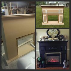 DIY fireplace husband and I made for electric fireplace insert. Made with mdf, 2x4's and scrap wood and trim leftover from our house build. Added tile and decorative scrollwork.