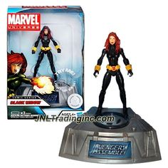 Hasbro Year 2011 Marvel Universe Comic Series Exclusive 4 Inch Tall Action Figure - BLACK WIDOW with Light-Up Base