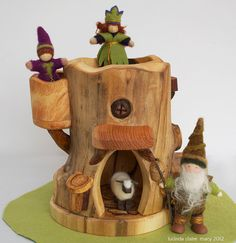 Gnome Tree House with Climbing Log