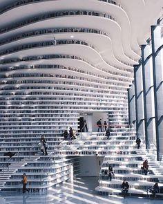 Tianjin Bihai Library, China   Photo by @lielaine
