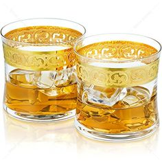 Hand Etched Whiskey Glasses - Gold Etching - Made in Europe - Set of Perfect gift for Father's day