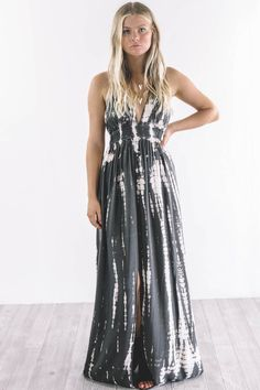 Never Gets Old Tie Dye Charcoal Maxi Dress
