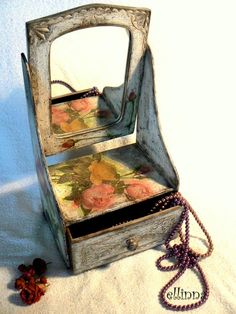 Vintage Shabby shic style trimly dressing table with by ellinna, $62.00