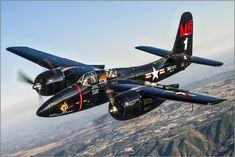 """https://flic.kr/p/bLX4mg   Grumman F7F Tigercat   """"Big Bossman"""" in the air above southern California."""