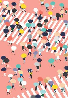 Crossing the street on a rainy day, by Putri Febriana. Putri Febriana is a Graphic Designer & Illustrator based in Jakarta, Indonesia. Focusing on Simple Flat Illustration, Book & Layout Design, Maps & Infographic. https://www.behance.net/putrifebriana