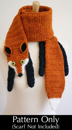 PDF Crochet Pattern for Fox Scarf - Animal Woodland Warm DIY Fashion Tutorial Winter Fall Autumn Accessories Adapt to a knitting pattern. Crochet Fox, Crochet Animals, Crochet Crafts, Yarn Crafts, Easy Crochet, Diy Crafts, Funny Crochet, Crochet Dragon, Knitting Projects