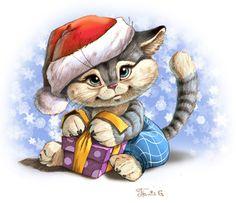 Просмотреть иллюстрацию Новогодний котёнок из сообщества русскоязычных художников автора Add.Mor. в стилях: Анимационный, нарисованная техниками: Смешанная техника.
