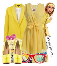 """Honey Lemon (Big Hero 6)"" by claucrasoda ❤ liked on Polyvore featuring Elizabeth Cole, Liz Claiborne, Monsoon, Warehouse, Topshop, Kate Bissett, Marc by Marc Jacobs, Vera Bradley, Muse and Qupid"