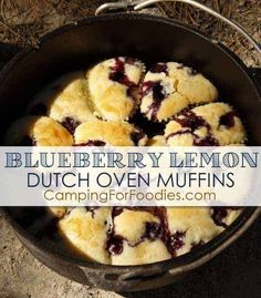 This Blueberry Lemon Dutch Oven Muffins Camping Recipe is SOOOOOOOO YUMMY! It is oooey, gooey, sweet and slightly tart. These muffins make a wonderful camping breakfast but they are also a nice treat for dessert! Campfire Dinner Recipes, Camping Desserts, Campfire Food, Camping Recipes, Backpacking Recipes, Recipes Dinner, Dessert Recipes, Camping Bedarf, Dutch Oven Camping