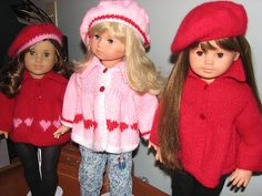 Free Pattern-Ravelry: American Girl Flared Sweater pattern I had a favorite cable sweater pattern for American Girl dolls that I used to knit for gifts when my daughters were little. Knitting Dolls Clothes, Ag Doll Clothes, Crochet Doll Clothes, Doll Clothes Patterns, Knitted Doll Patterns, Knitted Dolls, Knitting Patterns, Knitting Ideas, Crochet Patterns