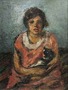 WikiPaintings.org - the encyclopedia of painting. 139/600 Girl With Cat - Gheorghe Petrascu
