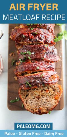Are you looking for some dinner recipes with your air fryer? You have to try this paleo air fryer meatloaf recipe. Come see how easy it is to make meatloaf in an air fryer and save it to your healthy dinner board. Paleo Meatloaf, Turkey Meatloaf, Meatloaf Recipes, Cooking Meatloaf, Paleo Recipes, Gourmet Recipes, Paleo Meals, Paleo Food, Air Fryer Recipes Paleo