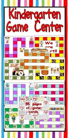 Just add dice, game pieces, and kindergarteners for loads of learning fun!!    This packet includes everything else you need to get started with a game center in your kindergarten classroom!!   There are 62 different game-boards that can be used throughout the year. There are game-boards for back to school, fall, Halloween, Thanksgiving, Christmas, winter, Valentine's Day, St. Patrick's Day, Easter, and spring!!  There are also 55 PAGES of game cards that cover almost any kindergarten topic.