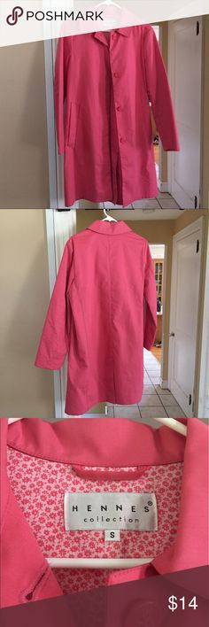 H&M Hennes Collection pink coat Gently worn size small cotton / polyester coat. Light weight, great for spring/ fall. H&M Jackets & Coats Trench Coats