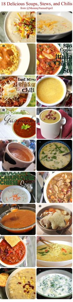 18 Amazing SOUPS, STEWS, & CHILIS!  {{bring it on fall!!!}}