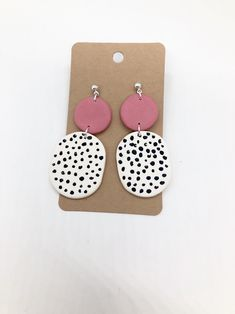 Excited to share this item from my shop: Pink and white earrings Diy Clay Earrings, Earrings Handmade, Dangle Earrings, Flower Earrings, Plastic Earrings, Paper Earrings, Polka Dot Earrings, White Earrings, Polymer Clay Crafts